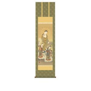 掛け軸 掛軸 純国産掛け軸 床の間 佛画 「阿弥陀三尊佛」 浮田秋水 尺三 化粧箱付|touo