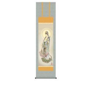 掛け軸 掛軸 純国産掛け軸 床の間 佛画 「聖観音」 鈴木翠朋 尺三 化粧箱付|touo