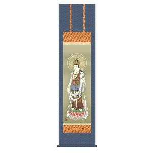 掛け軸 掛軸 純国産掛け軸 床の間 佛画 「雲上観音」 久米涼山 尺三 化粧箱付|touo