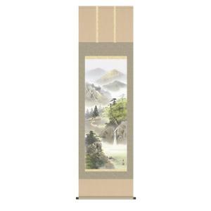 掛け軸 掛軸 純国産掛け軸 床の間 山水風景 「緑風水明」 伊藤渓山 尺五 桐箱付|touo
