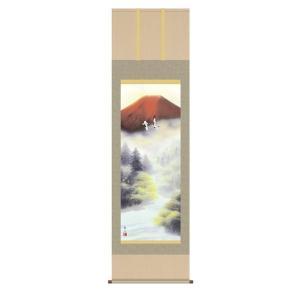 掛け軸 掛軸 純国産掛け軸 床の間 山水風景 「赤富士双鶴」 浮田秋水 尺五 桐箱付 touo