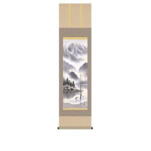 掛け軸 掛軸 純国産掛け軸 床の間 山水風景 「上高地」 鈴村秀山 尺三 化粧箱付|touo