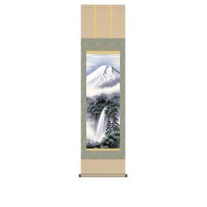 掛け軸 掛軸 純国産掛け軸 床の間 山水風景 「富士幽谷」 鈴村秀山 尺三 化粧箱付|touo