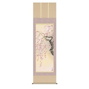 掛け軸 掛軸 純国産掛け軸 床の間 花鳥画 「桜花爛漫」 森山観月 尺五 桐箱付|touo