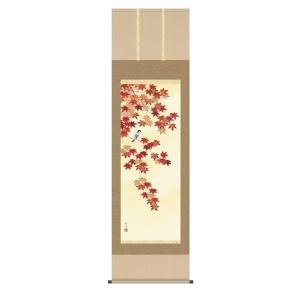 掛け軸 掛軸 純国産掛け軸 床の間 花鳥画 「四季花鳥 紅葉」 長江桂舟 尺五 桐箱付|touo