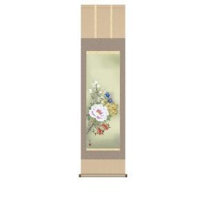 掛け軸 掛軸 純国産掛け軸 床の間 花鳥画 「四季花」 長屋修生 尺三 化粧箱付|touo