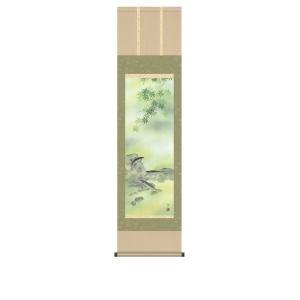 掛け軸 掛軸 純国産掛け軸 床の間 花鳥画 「楓に鮎」 鈴村秀山 尺三 化粧箱付|touo