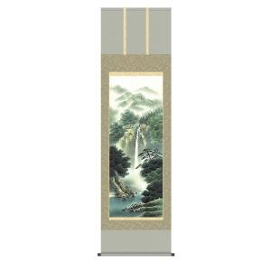 掛け軸 掛軸 純国産掛け軸 床の間 山水風景 「幽山渓谷」 鈴村秀山 尺五 桐箱付|touo