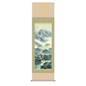 掛け軸 掛軸 純国産掛け軸 床の間 山水風景 「彩色山水」 江本修山 尺五 桐箱付|touo