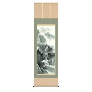 掛け軸 掛軸 純国産掛け軸 床の間 山水風景 「悠景彩遷」 熊谷千風 尺五 桐箱付|touo