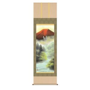 掛け軸 掛軸 純国産掛け軸 床の間 山水風景 「赤富士双鶴」 浮田秋水 尺五 桐箱付|touo