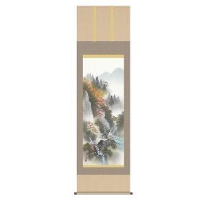 掛け軸 掛軸 純国産掛け軸 床の間 山水風景 「紅葉色景」 田中広遠 尺五 桐箱付|touo
