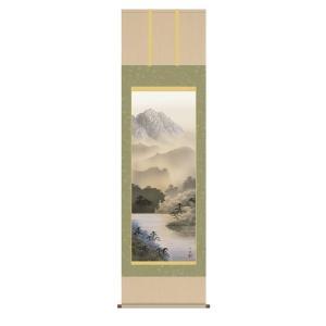 掛け軸 掛軸 純国産掛け軸 床の間 山水風景 「湖畔黎明」 熊谷千風 尺五 桐箱付|touo