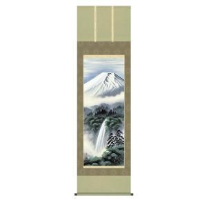 掛け軸 掛軸 純国産掛け軸 床の間 山水風景 「富士幽谷」 鈴村秀山 尺五 桐箱付|touo