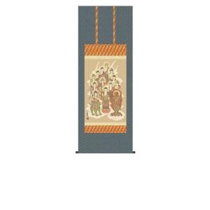 掛け軸 掛軸 純国産掛け軸 床の間 佛画 「十三佛」 山村観峰 尺五あんどん 桐箱付|touo