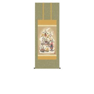 掛け軸 掛軸 純国産掛け軸 床の間 佛画 「十三佛」 田中広遠 尺五あんどん 桐箱付|touo