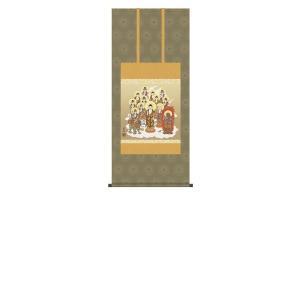 掛け軸 掛軸 純国産掛け軸 床の間 佛画 「十三佛」 清水雲峰 尺五横 桐箱付|touo