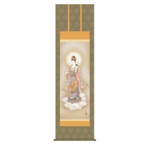 掛け軸 掛軸 純国産掛け軸 床の間 佛画 「雲上観音」 鈴木翠朋 尺五 桐箱付|touo