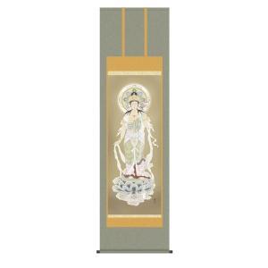 掛け軸 掛軸 純国産掛け軸 床の間 佛画 「聖観音」 高見蘭石 尺五 桐箱付|touo