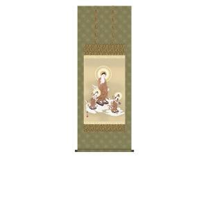 掛け軸 掛軸 純国産掛け軸 床の間 佛画 「阿弥陀三尊佛」 天野豊水 尺五あんどん 桐箱付|touo