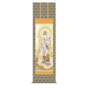 掛け軸 掛軸 純国産掛け軸 床の間 仏事画 「雲上観音」 井川洋光 尺八 桐箱付|touo