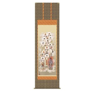 掛け軸 掛軸 純国産掛け軸 床の間 佛画 「十三佛」 野川秀華 尺八 桐箱付|touo