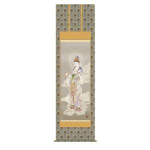 掛け軸 掛軸 純国産掛け軸 床の間 仏事画 「雲上観音」 天野豊水 尺八 桐箱付|touo