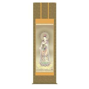 掛け軸 掛軸 純国産掛け軸 床の間 仏事画 「雲上観音」 鈴木翠朋 尺八 桐箱付|touo