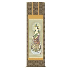 掛け軸 掛軸 純国産掛け軸 床の間 仏事画 「雲上観音」 小野洋舟 尺八 桐箱付|touo