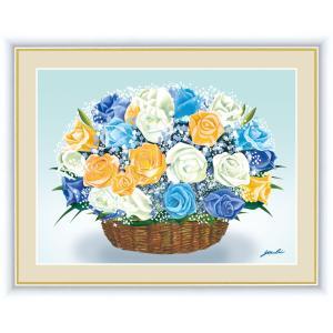 絵画 高精細デジタル版画 インテリア 壁掛け 額縁付き 洋 美作 「バラのブーケ」 F6 touo