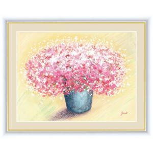 絵画 高精細デジタル版画 インテリア 壁掛け 額縁付き 洋 美作 「可愛いピンクのブーケ」 写真立て仕様|touo