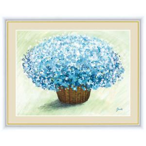 絵画 高精細デジタル版画 インテリア 壁掛け 額縁付き 洋 美作 「爽やかなブルーのブーケ」 写真立て仕様|touo