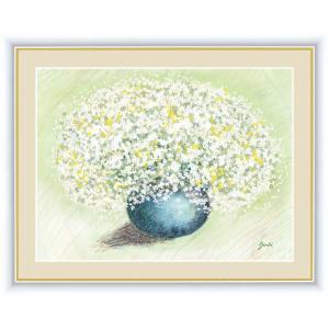 絵画 高精細デジタル版画 インテリア 壁掛け 額縁付き 洋 美作 「純真なホワイトのブーケ」 F6 touo