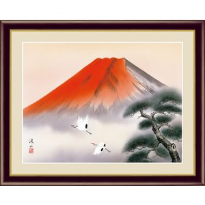 絵画 高精細デジタル版画 インテリア 壁掛け 額縁付き 日本画 伊藤渓山作 「赤富士飛翔」 写真立て仕様|touo