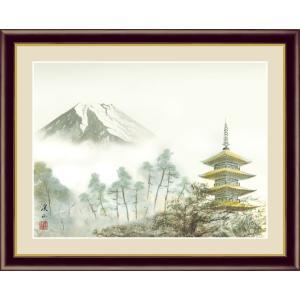 絵画 高精細デジタル版画 インテリア 壁掛け 額縁付き 日本画 伊藤渓山作 「富士塔景」 写真立て仕様|touo
