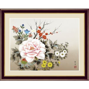 絵画 高精細デジタル版画 インテリア 壁掛け 額縁付き 日本画 北山歩生作 「四季花」 写真立て仕様|touo