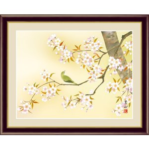 絵画 高精細デジタル版画 インテリア 壁掛け 額縁付き 日本画 緒方葉水作 「桜に鶯」 写真立て仕様|touo