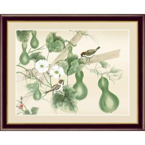 絵画 高精細デジタル版画 インテリア 壁掛け 額縁付き 日本画 吉井蘭月作 「六瓢」 写真立て仕様|touo