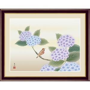 絵画 高精細デジタル版画 インテリア 壁掛け 額縁付き 日本画 清水玄澄作 「紫陽花」 写真立て仕様|touo