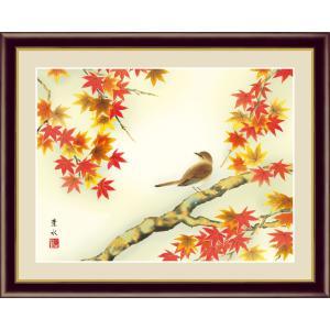絵画 高精細デジタル版画 インテリア 壁掛け 額縁付き 日本画 緒方葉水作 「紅葉に小鳥」 F6|touo