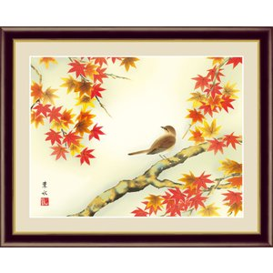絵画 高精細デジタル版画 インテリア 壁掛け 額縁付き 日本画 緒方葉水作 「紅葉に小鳥」 写真立て仕様|touo