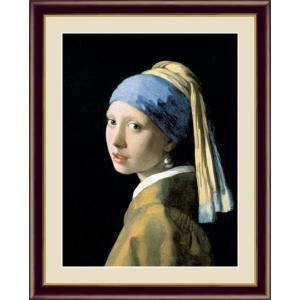 絵画 高精細デジタル版画 インテリア 壁掛け 額縁付き 名画 ヨハネス・フェルメール 「真珠の耳飾りの少女」 F4|touo