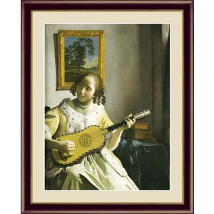 絵画 高精細デジタル版画 インテリア 壁掛け 額縁付き 名画 ヨハネス・フェルメール 「ギターを弾く女」 F6|touo