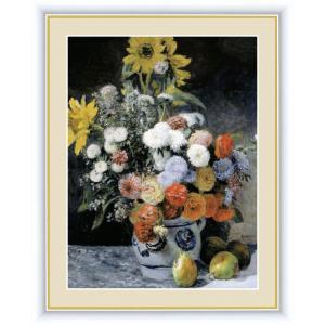 絵画 高精細デジタル版画 インテリア 壁掛け 額縁付き 名画ピエール・オーギュスト・ルノワール 「花瓶の花」 写真立て仕様|touo