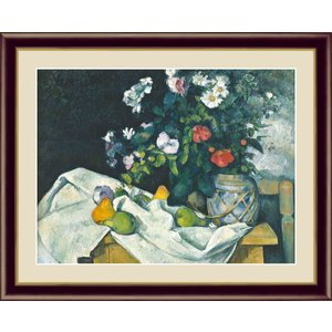 絵画 高精細デジタル版画 インテリア 壁掛け 額縁付き 名画ポール・セザンヌ 「花と果物のある静物」 写真立て仕様|touo