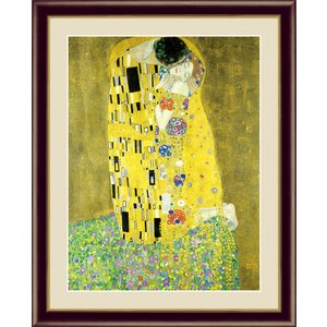絵画 高精細デジタル版画 インテリア 壁掛け 額縁付き 名画グスタフ・クリムト 「接吻」 写真立て仕様|touo