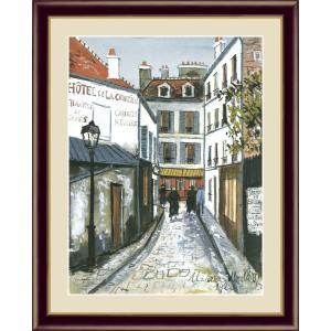 絵画 高精細デジタル版画 インテリア 壁掛け 額縁付き 名画モーリス・ユトリロ 「ベルヴェルの通り」 写真立て仕様|touo