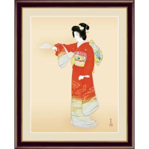 絵画 高精細デジタル版画 インテリア 壁掛け 額縁付き 名画 上村 松園 「序の舞」 写真立て仕様|touo