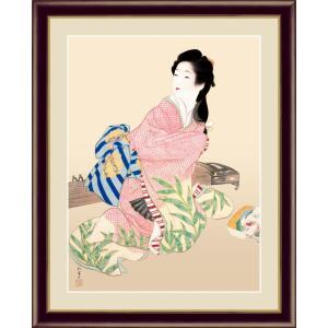 絵画 高精細デジタル版画 インテリア 壁掛け 額縁付き 名画 上村 松園 「娘深雪」 写真立て仕様|touo