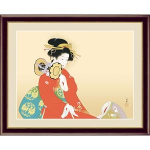 絵画 高精細デジタル版画 インテリア 壁掛け 額縁付き 名画 上村 松園 「鼓の音」 写真立て仕様|touo